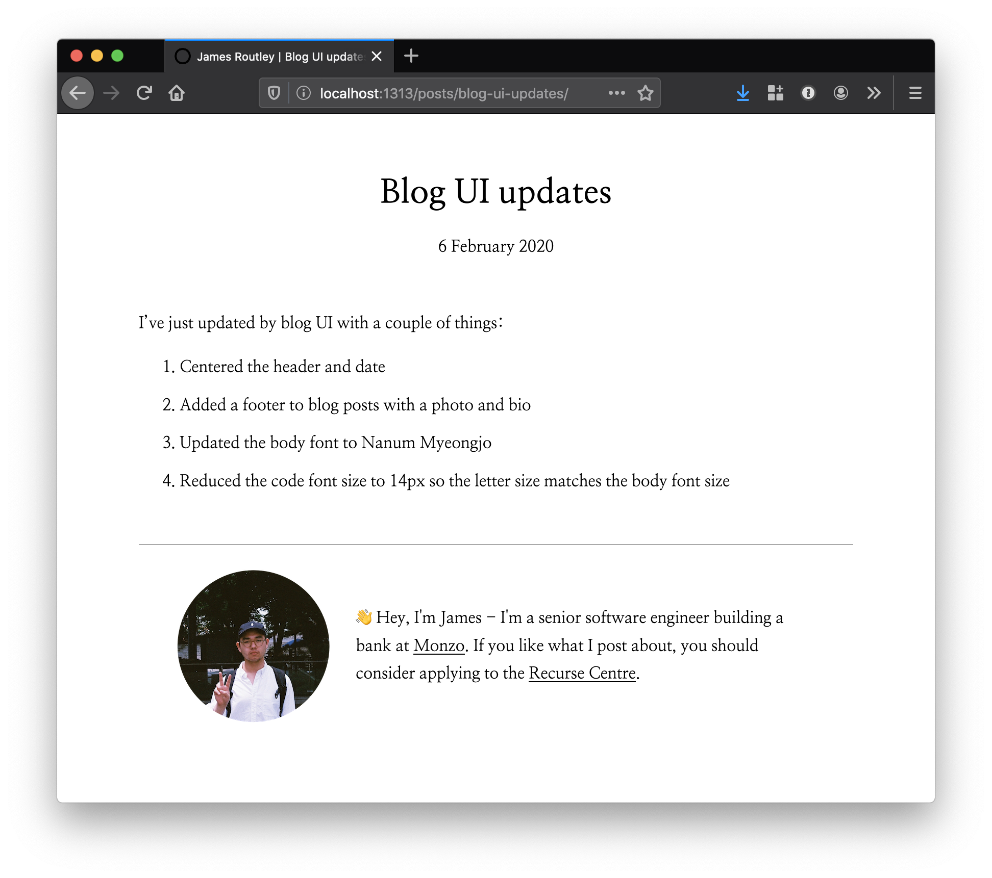 My blog as it looks in Feb 2020